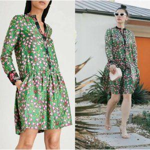 Sandro Paris Silk Floral Torr Drop Waist Dress